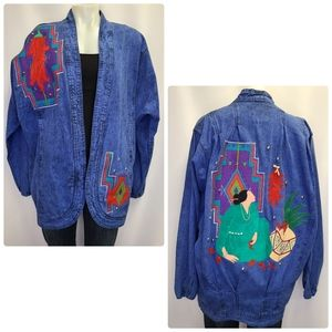 Vintage 80s Denim Jean Jacket Embroidered Mexican